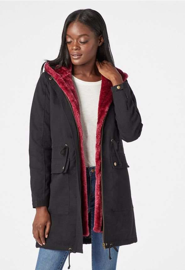 0b943a1878cb Removable Faux Fur Parka in Black - Get great deals at JustFab