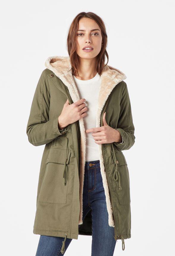 b00cd0d95f419 Removable Faux Fur Hood Parka Jacket in dark olive - Get great deals at  JustFab