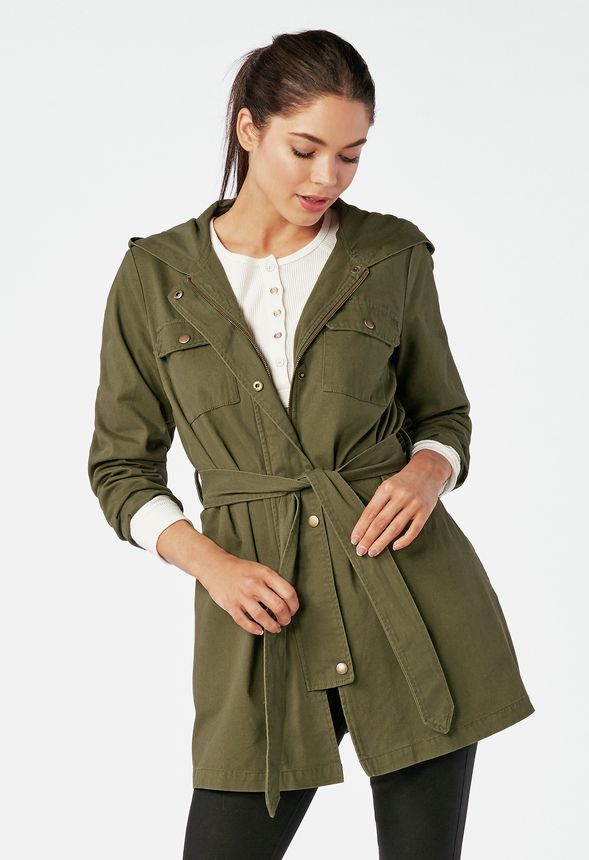 2be602853d5 A-Line Parka Jacket in Dark Olive - Get great deals at JustFab