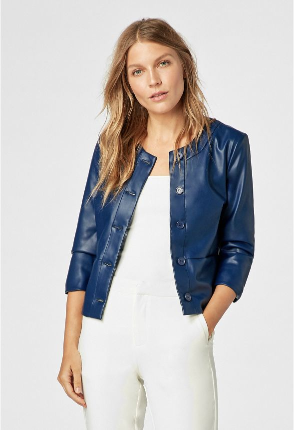 738d7665a 3/4 Sleeve Faux Leather Jacket in INDIGO - Get great deals at JustFab