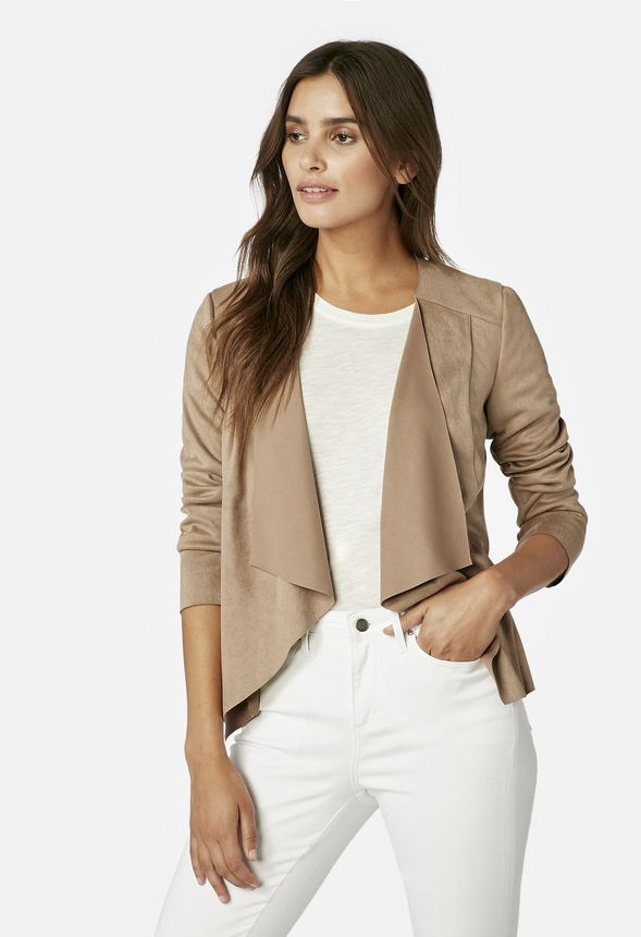 92072722b Drape Front Jacket in Portebello - Get great deals at JustFab