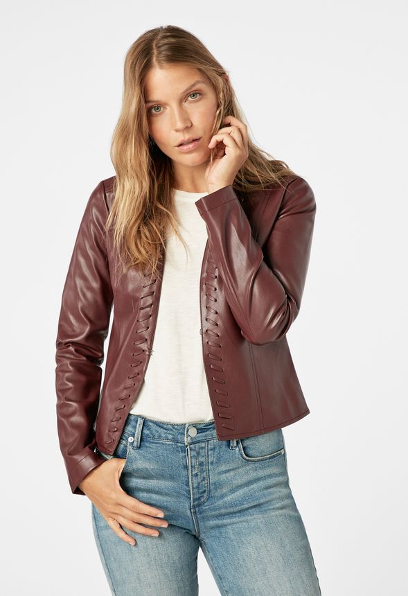 83d1a682cf0 Whip Stitch Faux Leather Jacket in decadent chocolate - Get great deals at  JustFab