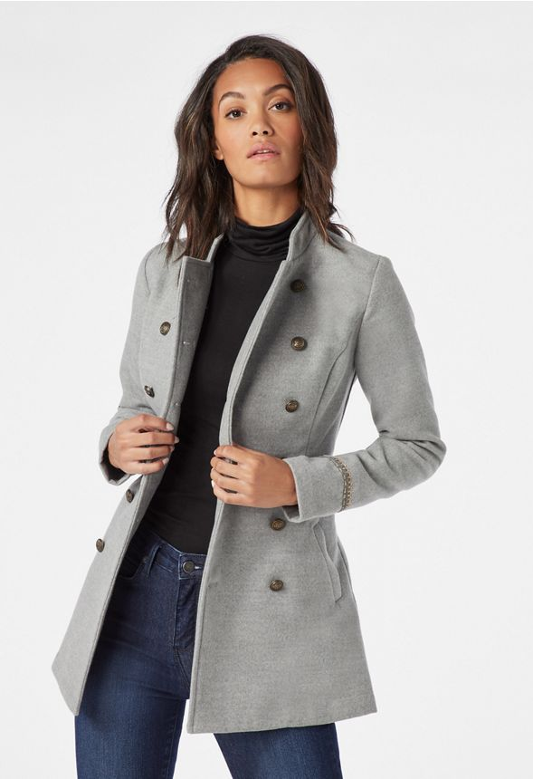 c0d563f1ffeb0b Button Detail Coat in heather grey - Get great deals at JustFab