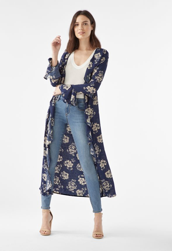 482c343c7 Floral Print Duster in Navy Multi - Get great deals at JustFab
