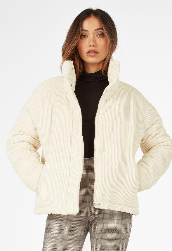 Oversized Corduroy Puffer Jacket by Justfab