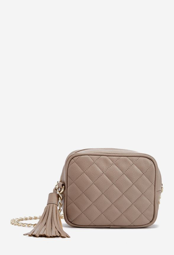 Otto Quilted Crossbody Bag In Taupe Get Great Deals At Justfab