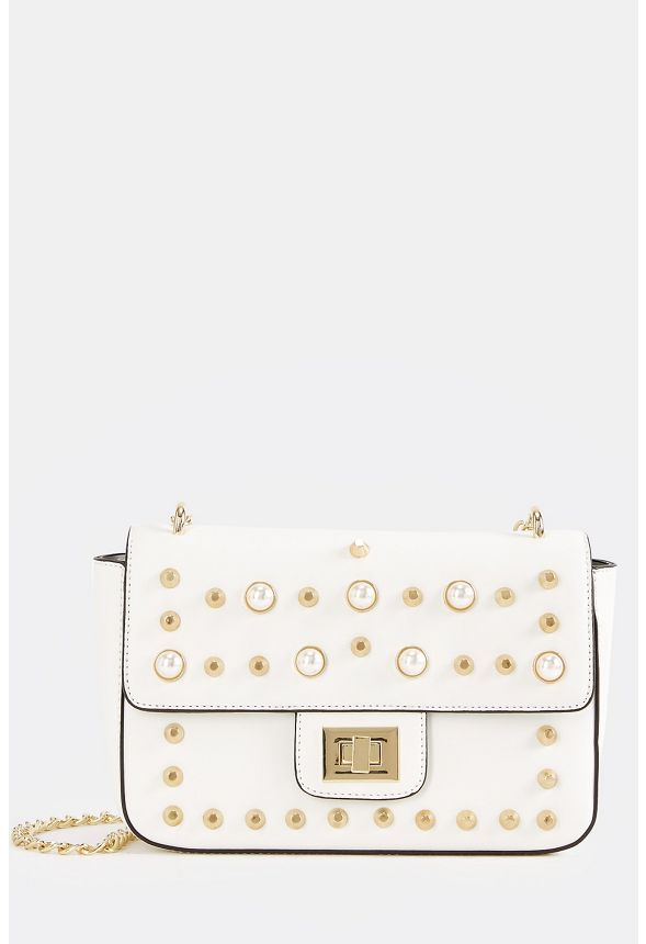 Pearl Studded Crossbody Bag In White