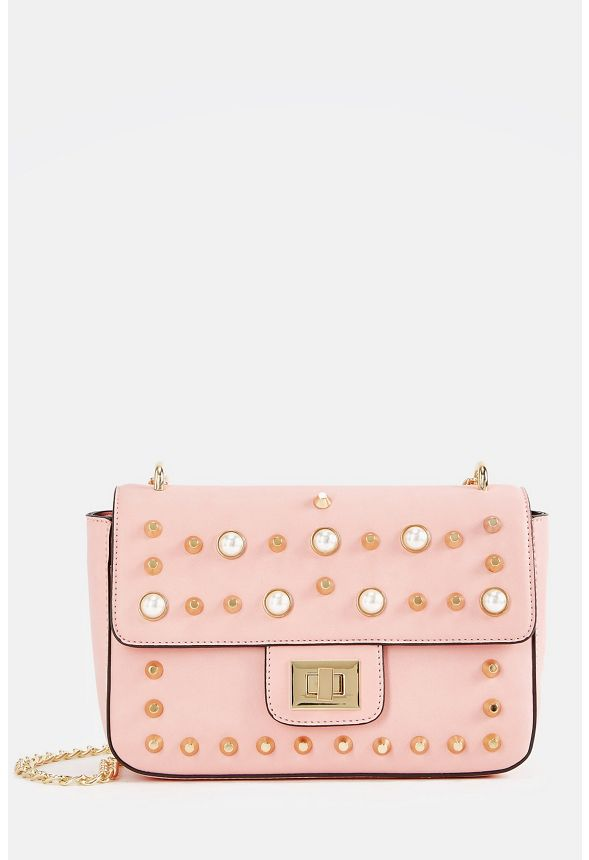 Pearl Studded Crossbody Bag in mellow rose - Get great deals at JustFab
