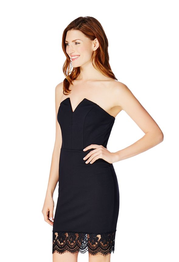 7be9431173f2 Strapless Low V-Dress in Black - Get great deals at JustFab