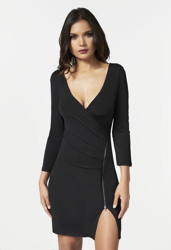 Zipper Front Wrap Dress In Black Get Great Deals At Justfab