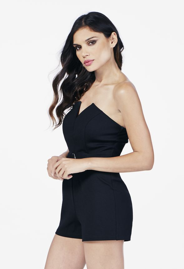 3efbe9eae50e Deep V Strapless Romper in Black - Get great deals at JustFab