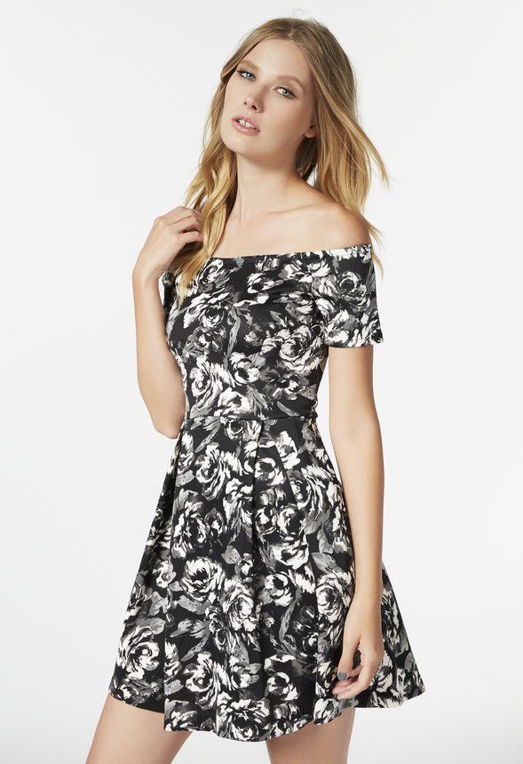 93123e66a4de Off Shoulder Floral Dress in Black Multi - Get great deals at JustFab