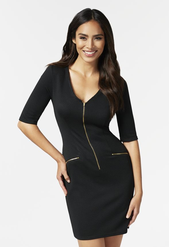 144f56a68dad Zip Front Dress in Black - Get great deals at JustFab