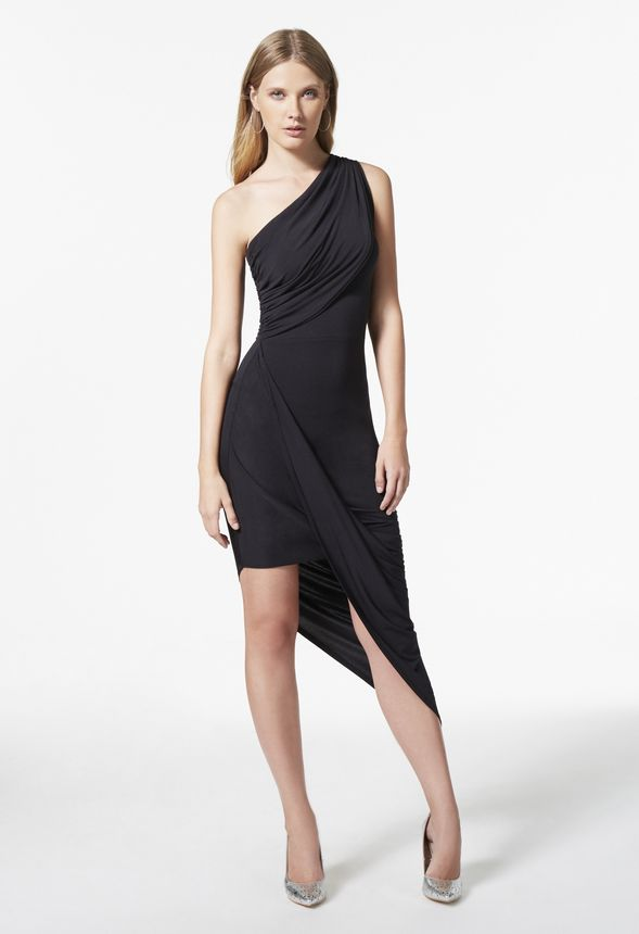 989e73f61535 One Shoulder Asymmetrical Dress in Black - Get great deals at JustFab