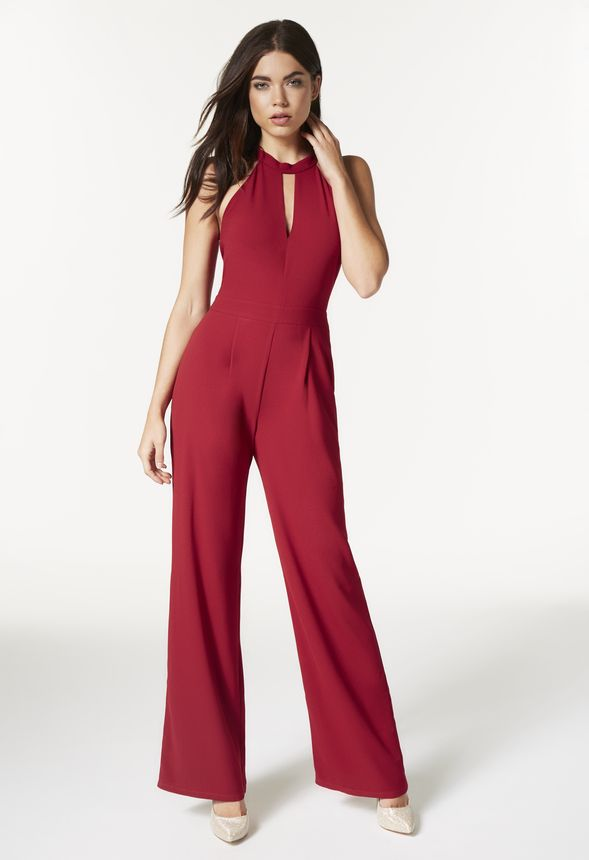 Halter Jumpsuit in Red - Get great deals at JustFab