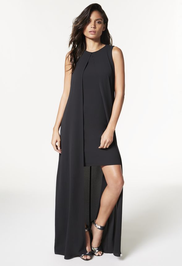 1d4298b7d95 Sleeveless Front Slit Shift Dress in Black - Get great deals at JustFab