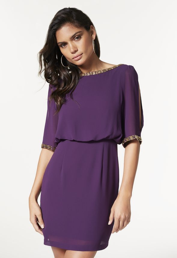 Embellished Cocktail Dress in Plum - Get great deals at JustFab