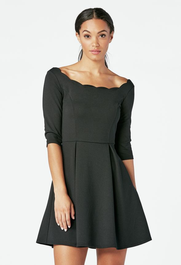 Scallop Fit And Flare Dress in Black - Get great deals at JustFab c9c630d01
