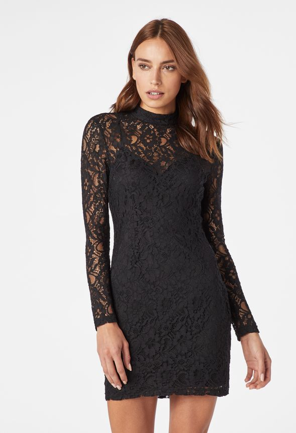 5dd8a03d066d Mock Neck Lace Bodycon in Black - Get great deals at JustFab