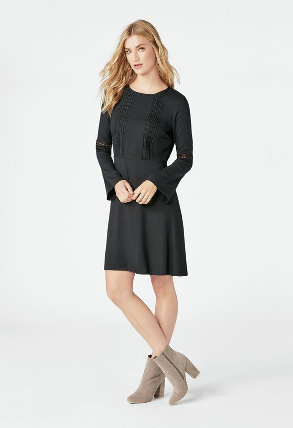 Bell Sleeve Dress In Black Get Great Deals At Justfab