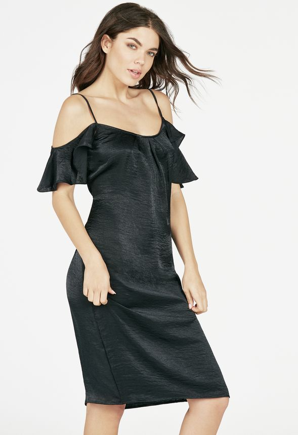 03117268e1dc55 Cold Shoulder Slip Dress in Black - Get great deals at JustFab