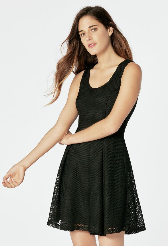 100affd4ba0e Mesh Fit And Flare Dress in Black - Get great deals at JustFab