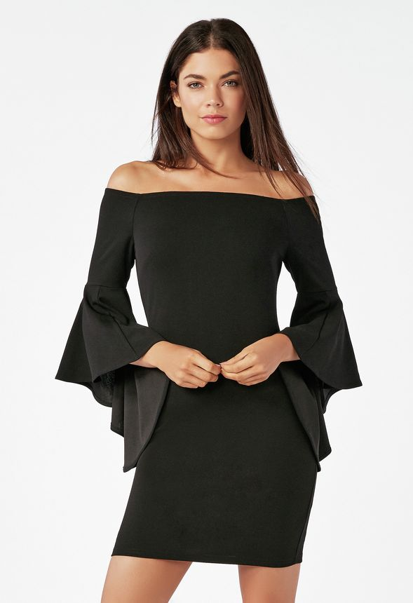 c7e2ce13ddc8 Off Shoulder Ruffle Dress in Black - Get great deals at JustFab