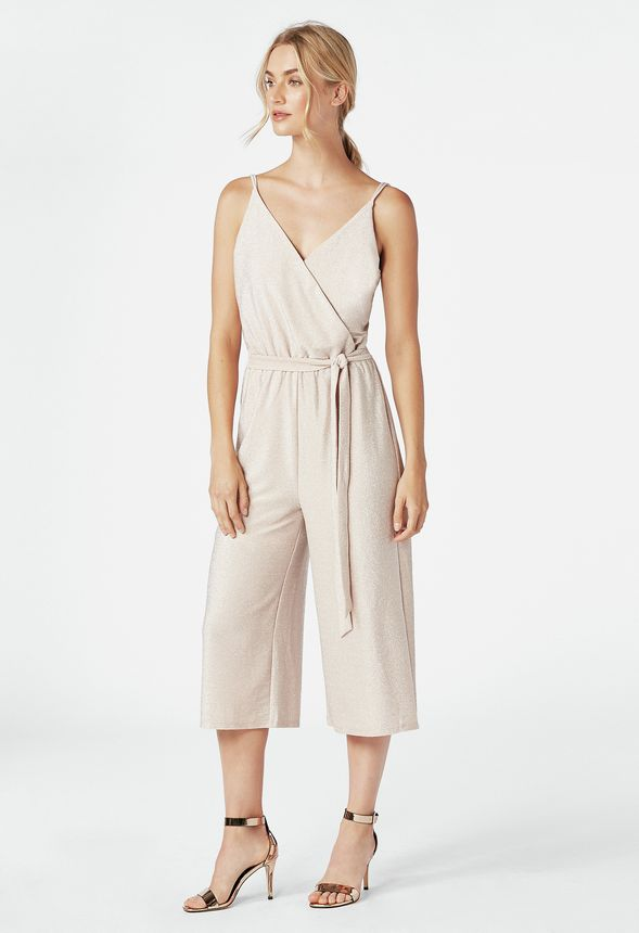 73c4aa5294bb Sparkle Cropped Wide Leg Jumpsuit in LIGHT BLUSH - Get great deals at  JustFab