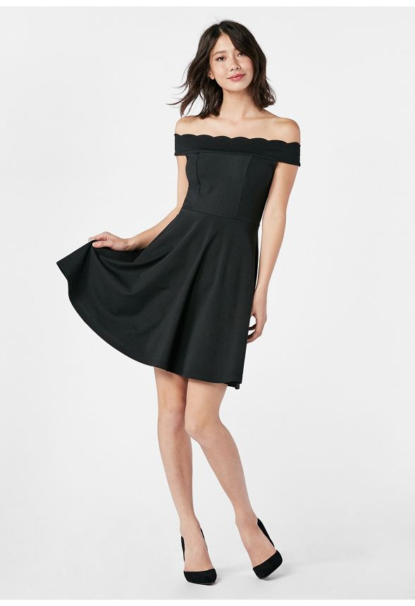 161e3d7fb588 Scallop Fit And Flare Dress in Black - Get great deals at JustFab