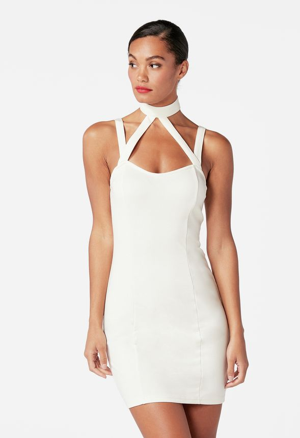 Choker Bodycon Dress in WINTER WHITE - Get great deals at JustFab af0007bb7