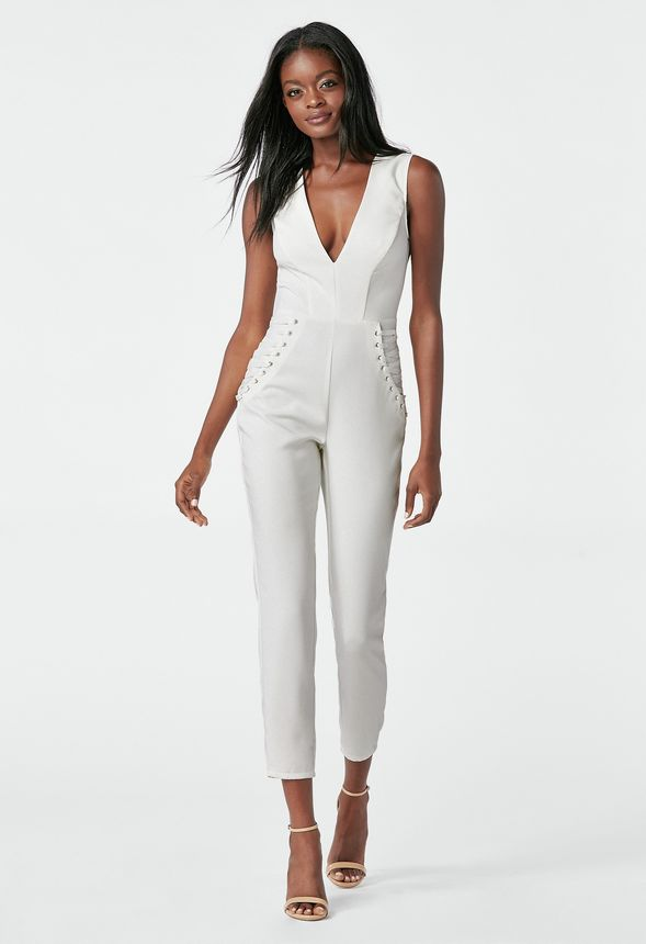 Deep V Jumpsuit in WINTER WHITE - Get great deals at JustFab d163d1279210