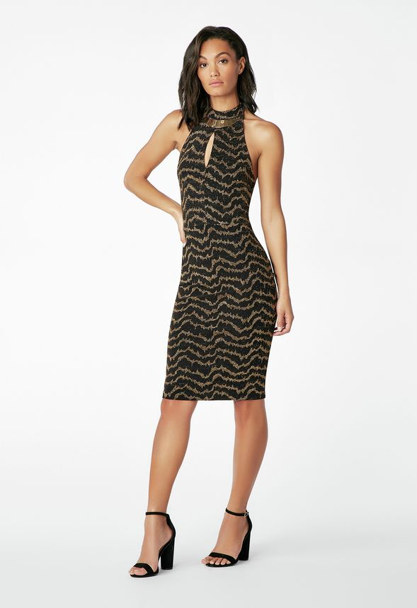 9fcbfaaf5f53 Halter Dress With Necklace in Black Multi - Get great deals at JustFab