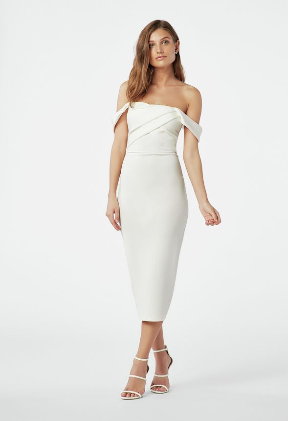 d7708a5a639b Off Shoulder Bodycon Dress in White - Get great deals at JustFab