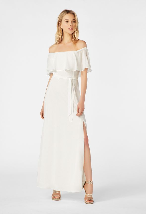8483ad46c6b567 Off Shoulder Maxi Dress in White - Get great deals at JustFab