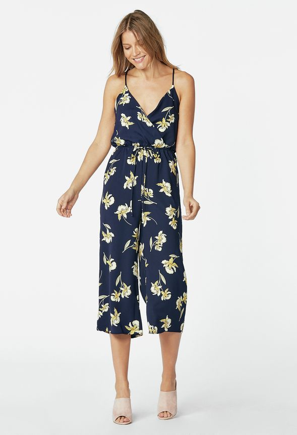 6d3a51afccbc Floral Cropped Jumpsuit in Navy Multi - Get great deals at JustFab