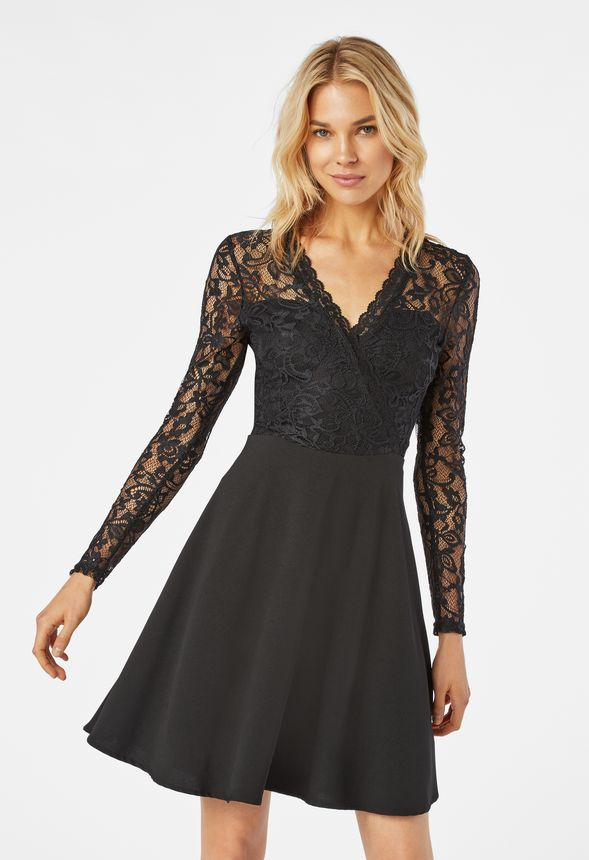 Lace Fit And Flare Dress In Black Get Great Deals At Justfab