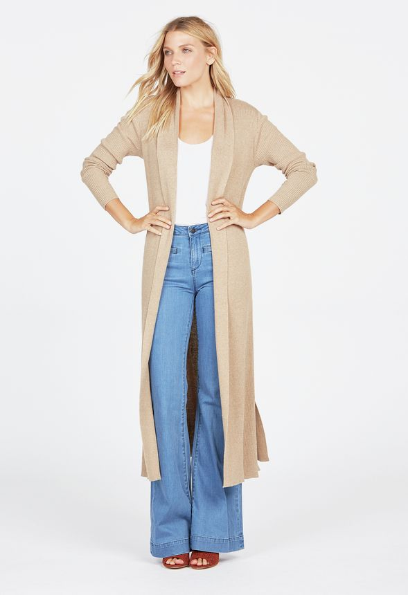 Ribbed Longline Cardigan in Heather Cappuccino - Get great deals ...