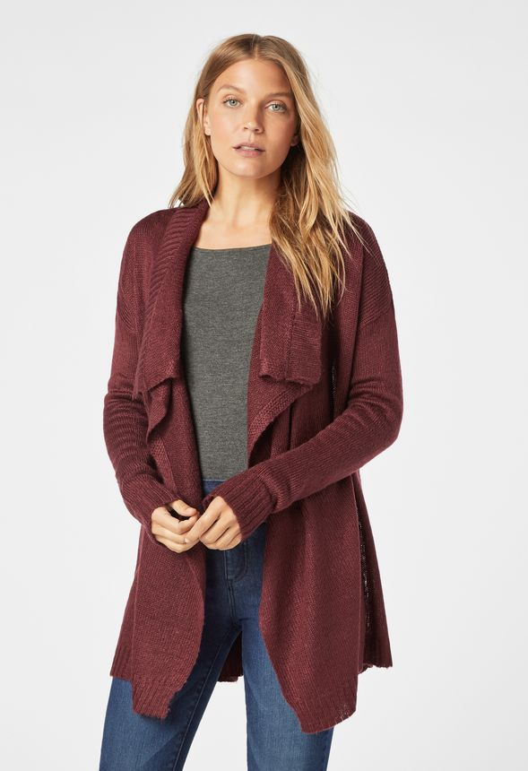 020cbfee9fa2a5 Drape Front Cardigan in Oxblood - Get great deals at JustFab