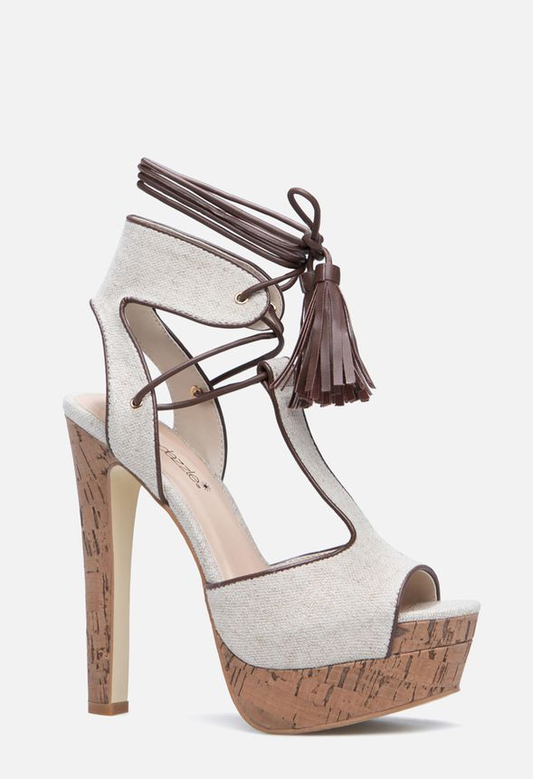 2fd761b4ecce Adeline Lace Up Heeled Sandal in Natural - Get great deals at JustFab