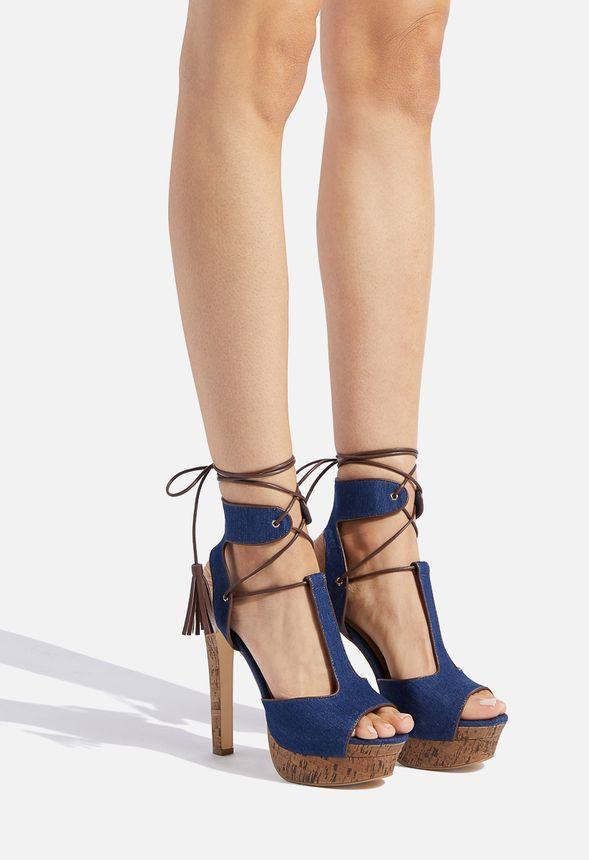 Adeline Lace Up Heeled Sandal in Denim