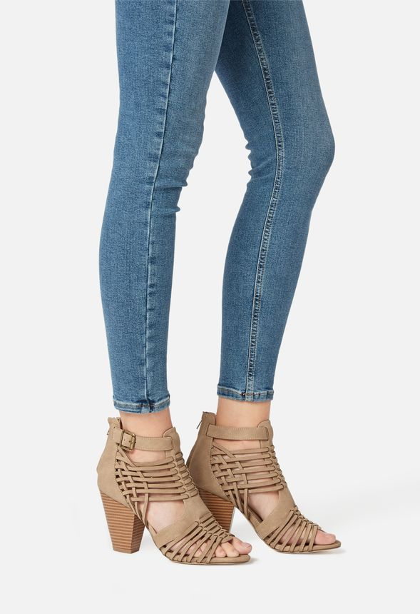 Thandie Caged Heeled Sandal in TAUPE