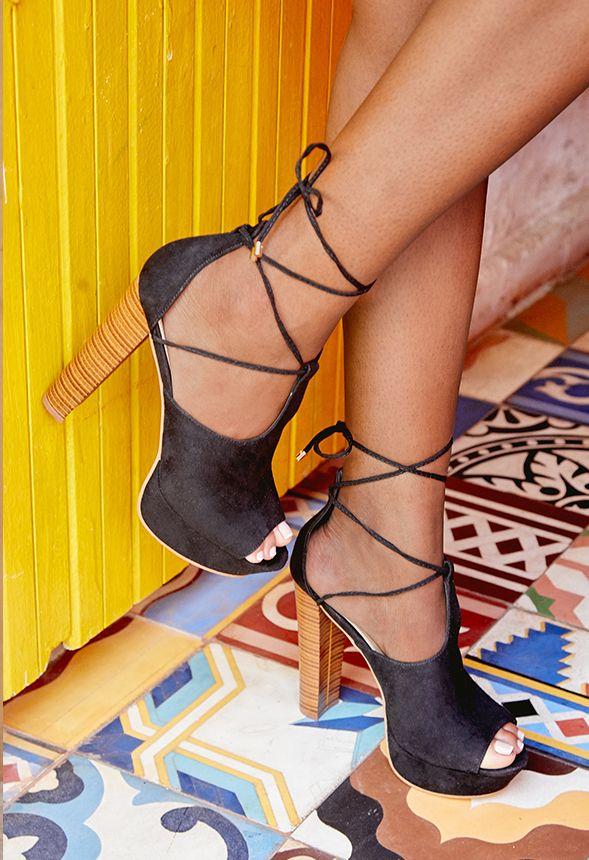 ff4ceef4c70 Nylia Platform Heeled Sandal in Black - Get great deals at JustFab