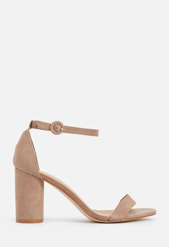 9a240ebf1c4 Jacey Cylinder Heeled Sandal in Taupe - Get great deals at JustFab