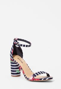 bb21734873b Jacey Cylinder Heeled Sandal in Black White - Get great deals at JustFab