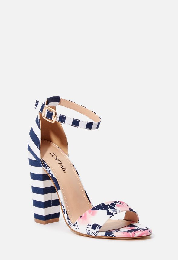 453b0215386 Lena Heeled Sandal in NAVY/WHITE - Get great deals at JustFab