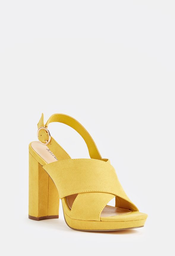 Nastasia Heeled Sandal in Yellow - Get great deals at JustFab