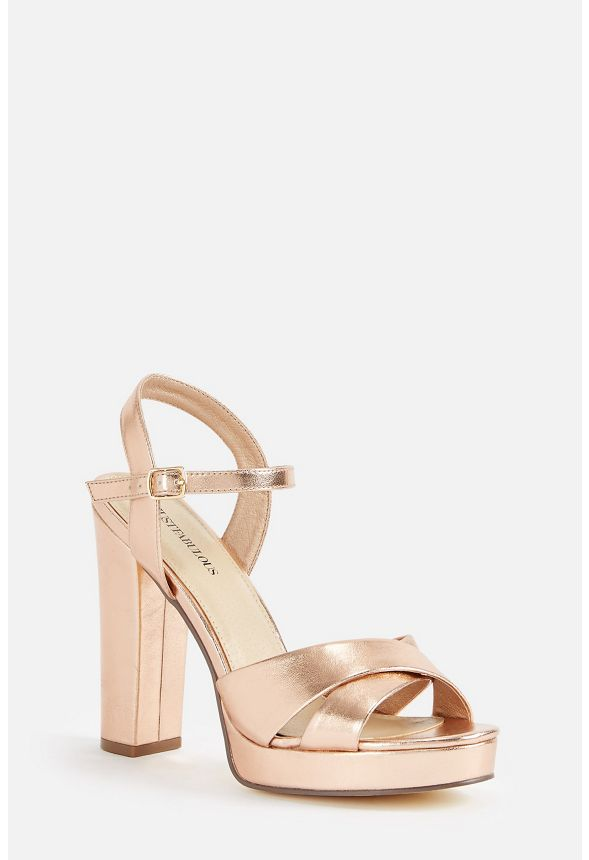 b745e7aab489 Clarabelle Heeled Sandal in Rose Gold - Get great deals at JustFab
