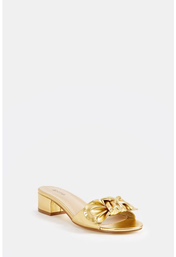 571b87c42 Etna Bow Top Slip-On Mule in Gold - Get great deals at JustFab