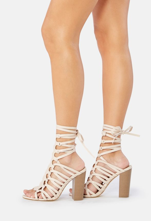 fd7e6ac25cd Freesia Strappy Heeled Sandal in Cream - Get great deals at JustFab