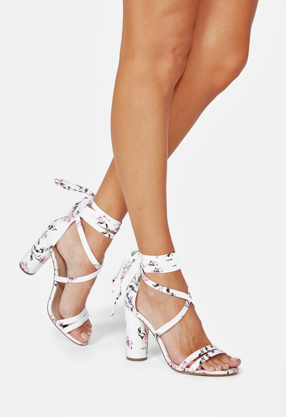 e4b15645b38 Tied   True Cylinder Heeled Sandal in WHITE FLORAL - Get great deals ...